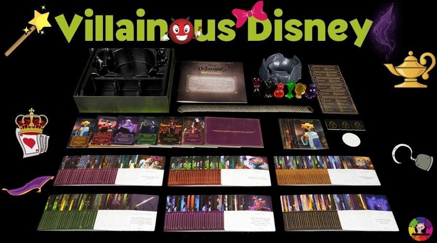 Componentes del juego de mesa villanos Disney
